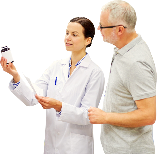 pharmacist assisting senior man