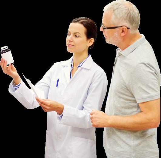 pharmacist assisting senior man